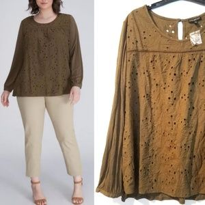 22/24 Lane Bryant Olive Eyelet Long Sleeve Top NWT
